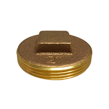 8 in. Raised Square Head Cleanout Plug, Southern Code, Cast Brass Pipe Fitting