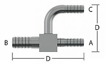 Y-Tee - 1/4 in. (7.24mm) Barb, 3/8 in. (9.96mm) Barb, 1/4 in. (7.24mm) Barb, 2.66 in. (67.6mm) Length, 1.46 in.(37.1mm) Height