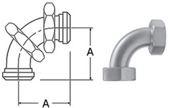 1 in. 2E 90 Degree Sweep Elbow With Hex Nuts (3A) 304 Stainless Steel Sanitary Fitting with Dimensions