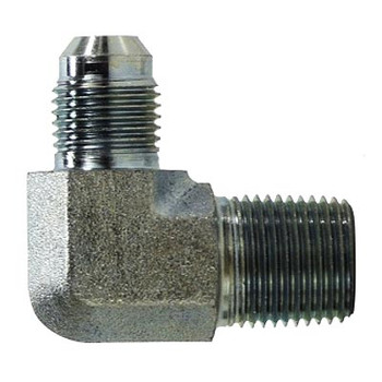 7/16-20 JIC x 3/8 in. Male Pipe JIC Male Elbow Steel Hyrdulic Adapter