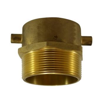 2-1/2 in. Female NST x 3 in. Male NPT, Male Swivel Adapter with Lugs, Brass Fire Hose Fitting