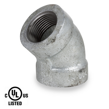 4 in. Galvanized Pipe Fitting 300# Malleable Iron 45 Degree Elbow, UL Listed