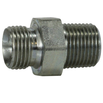 1/8-28 MBSPP x 1/8 in. Male Pipe Steel Male Pipe Nipple Hydraulic Adapter