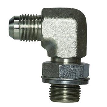 9/16-18 MJIC x 1/2-14 MBSPP Steel 90 Degree Male Elbow Hydraulic Adapter