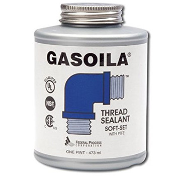 1/2 Pint Gasoila Soft Set PTFE Thread Sealant with Brush, Non Toxic, NSF, CSA, UL/FM Approved