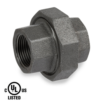 1/4 in. Black Pipe Fitting 300# Malleable Iron Threaded Union, UL Listed