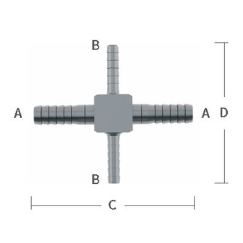 """1/4 in. x 1/8"""" Reducing (On 2 Barbs) Barb Hose Crosses Stainless Steel Beverage Fitting"""