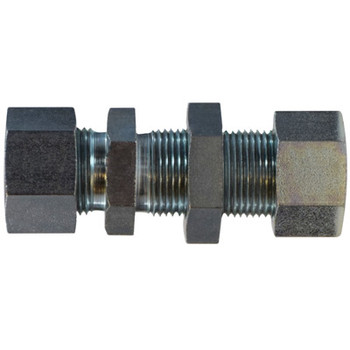 30 mm Bulkhead Straight Coupling Steel, DIN 2353 Metric, Hydraulic Adapter - HEAVY