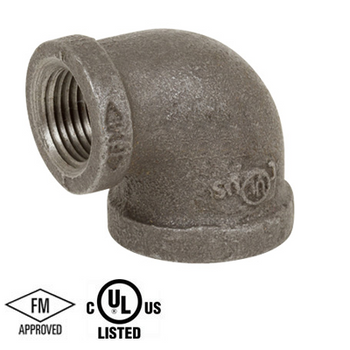 1 in. x 3/8 in. Black Pipe Fitting 150# Malleable Iron Threaded 90 Degree Reducing Elbow, UL/FM
