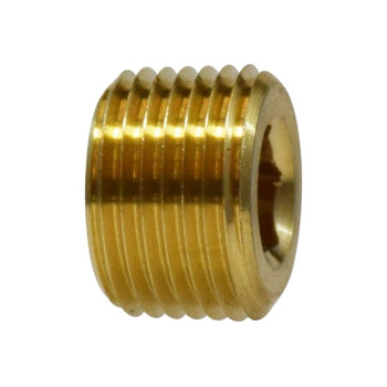 1/2 in. Countersunk Hex Plug, NPTF Threads, 3/4 in. Tapered Thread, 1200 PSI Max, Brass, Pipe Fitting