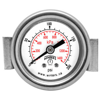 2 in. Dial, (0-200 PSI/KPA) 1/4 in. Back - PEU Economy Panel Mounted Gauge with U-Clamp