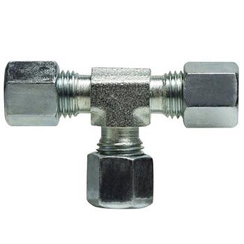 22mm Union Tee, Steel Fitting, DIN 2353 Metric, Hydraulic Adapter