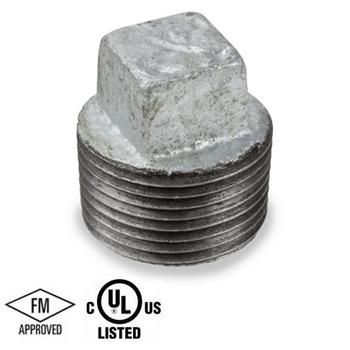 2 in. Galvanized Pipe Fitting 150# Malleable Iron Threaded Square Head Plug, UL/FM