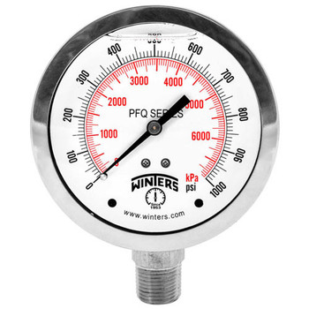 PFQ S.S. Liquid Filled Gauge, 1.5 in. Dial, 0-1500 PSI/KPA, 1/8 in. NPT Bottom Connection