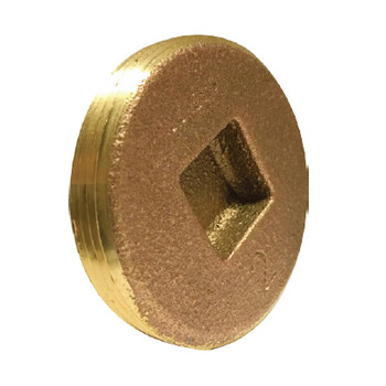 2 in. Countersunk Square Head Cleanout Plug, Southern Code, Cast Brass Pipe Fitting