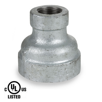 2 in. x 1-1/4 in. Galvanized Pipe Fitting 300# Malleable Iron Threaded Reducing Coupling, UL Listed