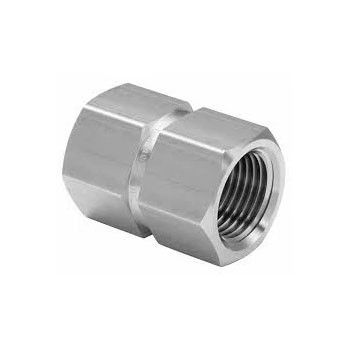1 in. x 1/2 in. Threaded NPT Reducing Hex Coupling 4500 PSI 316 Stainless Steel High Pressure Fittings