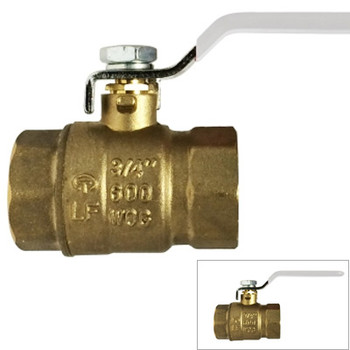 "50 1//2/"" FEMALE NPT THREADED LEAD FREE BRASS BALL VALVE FULL PORT 600 WOG"