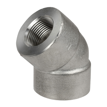 1-1/2 in. Threaded NPT 45 Degree Elbow 316/316L 3000LB Stainless Steel Forged Pipe Fitting