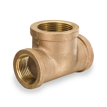 1/2 in. x 3/4 in. Bull Head Threaded NPT Tees, 125 PSI, Lead Free Brass Pipe Fitting