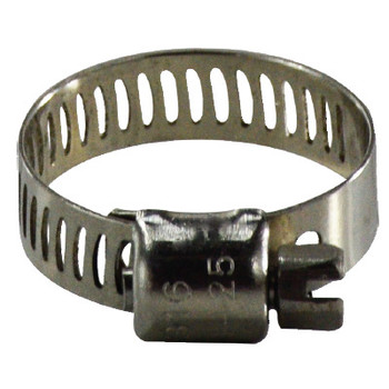1-1/16 in. - 1-1/2 in. Miniature Marine Worm Gear Clamp, 316 Stainless Steel, 5/16 in. Band, 1/4 in. Screw