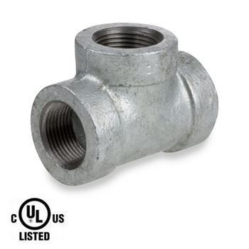 1 in. Galvanized Pipe Fitting 300# Malleable Iron Threaded Tee, UL Listed
