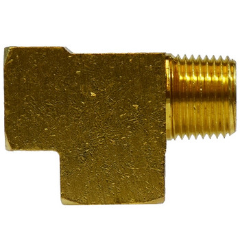 1/4 in. Street/Service/Male Run Tee, FIP x MIP x FIP, NPTF Threads, SAE 130424, 1200 PSI Max, Brass Pipe Fitting