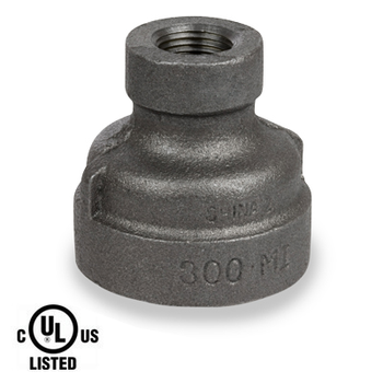 1-1/2 in. x 1 in. Black Pipe Fitting 300# Malleable Iron Threaded Reducing Coupling, UL Listed