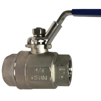 3/4 in. 2 Piece Full Port Ball Valve - 304 Stainless Steel - NPT Threaded 1000 PSI with Locking Handle