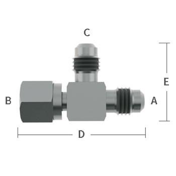 "3/8 in. Male Flare x 3/8"" Female Flare x 3/8"" Male Flare, Adapter Tee Stainless Steel Beverage Fitting"