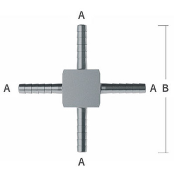 5/16 in. Hose Barbs 2.30 in. OAL Barb Hose Crosses, 303/304 Stainless Steel Beverage Fitting