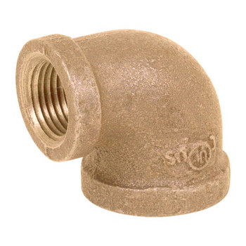 2 in. x 1-1/4 in. Threaded NPT 90 Degree Reducing Elbow, 125 PSI, Lead Free Brass Pipe Fitting