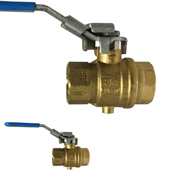 1 in. Vented, Full Port, Locking Brass Exhaust Ball Valve, 200 psi CWP, NPT Tap for Drain