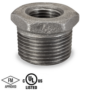 1 in. x 1/4 in. Black Pipe Fitting 150# Malleable Iron Threaded Hex Bushing, UL/FM