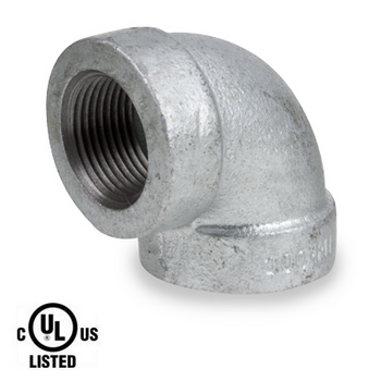 2 in. Galvanized Pipe Fitting 300# Malleable Iron 90 Degree Elbow, UL Listed