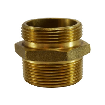 1-1/2 in. NPT x 1-1/2 in. NST, Double Male Hex Nipple, Brass Fire Hose Fitting