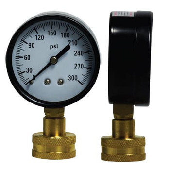 2-1/2 in. Water Test Gauge, 0-300 PSI Dial, 3/4 in. GHT, Female Hose Connection
