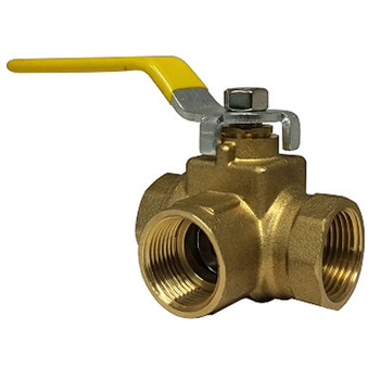 1/2 in. 3 Way Full Port Ball Valve, FIP, Brass, 600 WOG, Side Outlet