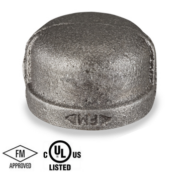 1-1/2 in. Black Pipe Fitting 150# Malleable Iron Threaded Cap, UL/FM
