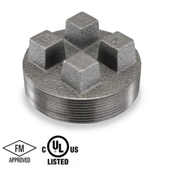 6 in. Black Pipe Fitting 150# Malleable Iron Threaded Bar Plug, UL/FM
