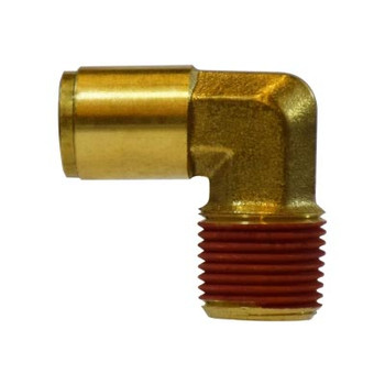 1/4 in. Tube OD x 3/8 in. Male NPTF, Push-In Fixed Male Elbow, Brass Push-to-Connect Tube Fitting