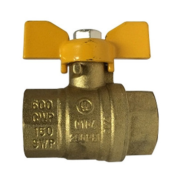 3/8 in. 600 WOG Full Port, Butterfly Handle Ball Valve, Forged Brass