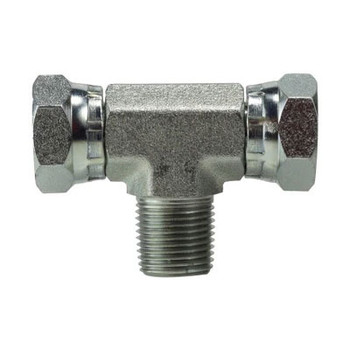 1/2 in. Female NPSM x 1/2 in. Male NPT Steel Male Swivel Branch Tee Hydraulic Adapter