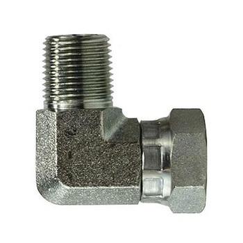 3/8 in. Male NPT x 1/4 in. Female NPSM Steel Pipe Elbow Swivel Adapter