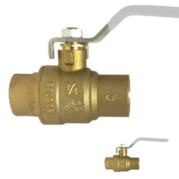1/2 in. 600 PSI WOG, Lead Free Brass Ball Valve, Full Port, SWT x SWT, AB-1953, Approvals: FM, cUPC, NSF, ANSI 61, ANSI 372