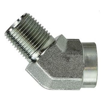 3/8 in. x 3/8 in. 45 Degree Street Elbow, Male x Female, Steel Pipe Fitting, Hydraulic Adapter