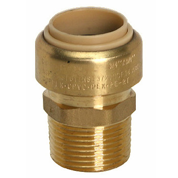 1 in. x 3/4 in. Male Adapter (Push x MNPT) QuickBite (TM) Push-to-Connect/Press On Fitting, Lead Free Brass (Disconnect Tool Included)
