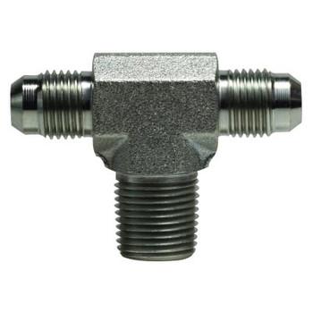 9/16-18 JIC (1 & 2) x 3/8 in. Male Pipe Steel JIC Male Branch Tee Hydraulic Adapter