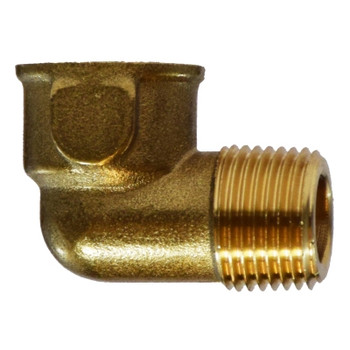 1/8 in. 90 Degree Street Elbow, MIP x FIP, NPTF Threads, Forged Brass, 1200 PSI, Pipe Fitting