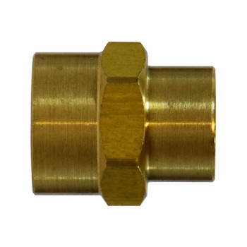 1/2 in. x 3/8 in. Reducing Coupling, FIP x FIP, NPTF Threads, Light Pattern, Up to 1200 PSI, SAE# 130138, Brass, Pipe Fitting